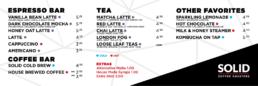 Solid Coffee, Coffee roasters, coffee beans, menu, SteelCraft, Bellflower