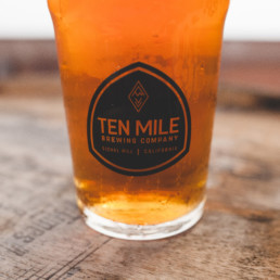 A light beer in a Ten Mile Brewing Company glass