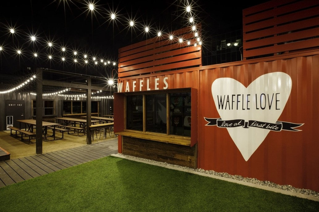 An interior shot of SteelCraft Long Beach featuring the Waffle Love vendor container